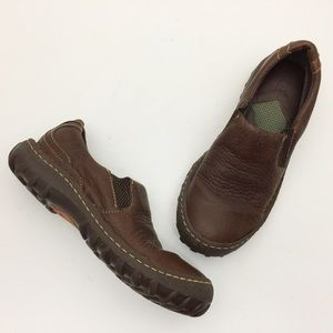 BORN Brown Pebbled Leather Slip On Loafers